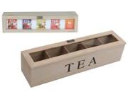 Коробка для чая 5 ячеек, 38X9X9cm, дерево