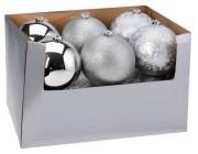 Шар елочный 150mm матовый, глиттер, глянцев, серебряный