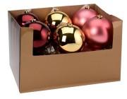 Шар елочный 150mm матовый, глянцев, бордо, светло-розовый, золотистый