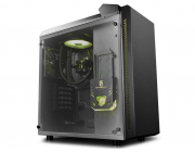 "DEEPCOOL ""BARONKASE LIQUID"" ATX Case with Liquid System (Pre-installed AIO liquid cooler / 120mm RGB fan,17.8~30dB) with Side-Window, without PSU, RGB Lighting System with Manual Controller, 1x120mm rear fan, 1xUSB3.0,1xUSB2.0/Audio, Black"