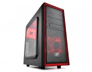 "DEEPCOOL ""TESSERACT SW-RD"" ATX Case, with Bigger Side-Window, without PSU, Massive metal mesh, Tool-less, 1x 120mm front Red LED fan, 1x 120mm rear Red LED fan, up to 3x 2.5"" HDD/SSD, Bottom loaded PSU, 1xUSB3.0, 1xUSB2.0 /Audio, Black/Red"