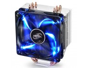 "DEEPCOOL Cooler  ""GAMMAXX 400"", Socket 775/1150/1151/2011 & AM4/FM2/AM3, up to 130W, 120х120х25mm, fan with blue LED, 900~1500rpm, 17.8~30dBA, 74.34CFM, 4 pin, PWM, Hydro Bearing, 4 heatpipes direct contact"