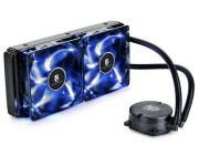 "DEEPCOOL Liquid Cooler  ""MAELSTROM 240T Blue"", Socket 775/1150/1151/1155/2011 & FM2/AM3, up to 150W, 2x PWM fans with Blue LED :120х120х25mm, 240mm aluminum fins, fans: 600~1800rpm, pump: 2400rpm, 17.8~34.1dBA, 167.28CFM, 4 pin"