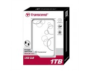 "2.5"" External HDD 1.0TB (USB3.0)  Transcend StoreJet 25A3, White, Durable and Shock-resistant, Sleek, mirror-like exterior enhances tactile and visual appeal, Quick Reconnect Button, compatible with Mac OS X"