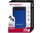 "2.5"" External HDD 1.0TB (USB3.0)  Transcend StoreJet 25H3B, Blue/Black, MIL-STD-810F, Durable anti-shock RUBBER outer case,  Advanced internal hard drive suspension system, One Touch Backup, Quick Reconnect Button, compatible with Mac OS X"