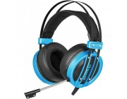 "MARVO ""HG9037"", USB Gaming Headset, Microphone, 50mm driver unit, 7.1 virtual surround sound with USB adapter, Volume control, Adjustable headband, Blue illumination, Braided cable, 2.4m, Blue"