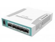 Cloud Router Switch 106-1C-5S with QCA8511 400MHz CPU, 128MB RAM, 1x Combo port (Gigabit Ethernet or SFP), 5 x SFP cages, RouterOS L5, desktop case, PSU
