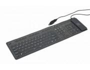 Gembird KB-109F-B, Flexible keyboard, USB, OTG adapter, black color, US layout