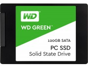 2.5 inch SSD 120GB  Western Digital WDS120G2G0A  Green™, SATAIII, Sequential Reads: 550 MB/s, Sequential Writes: 430 MB/s, Max Random 4k: Read: 37,000 IOPS / Write: 63,000 IOPS, 7mm, Silicon Motion SM2256S controller, 3D NAND TLC
