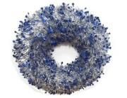Венок новогодний D44cm, со звездочками, серебр-синий
