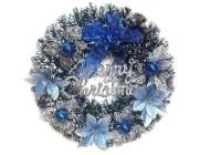 """Венок """"Merry Christmas"""" D36cm с синим декором"""