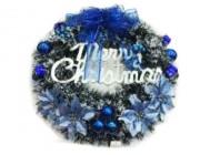 """Венок новогодний D50cm """"Merry Christmas"""" с синей лентой"""