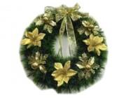 Венок новогодний D50cm зеленый, с золотой лентой