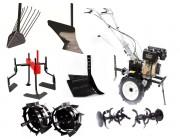 SET TECHNOWORKER 105 D PLUS // C резиновыми колесами + металлические колеса (400 * 8, без рукавов) + одинарный плуг + картофельный плуг + регулируемый плуг + культиватор + фрезер