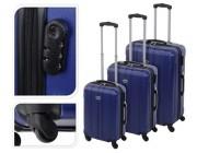 Чемодан-троллер 61l, 60X40X24cm средний, синий, пластик