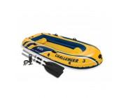 Лодка CHALLENGER-3-set , трехместная, 295*137*43 см, весла, ручной насос