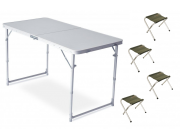 Комплект мебели 120 x 60 x 70 см / 4 табурета 29 x 30 x 34 см зеленый