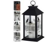 Фонарь подвесной черный с мерцающей LED свечой, 28.5X14X14сm