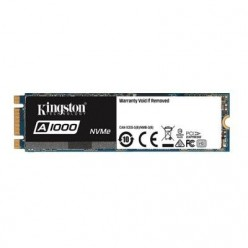 M.2 NVME SSD 480GB KINGSTON A1000, INTERFACE: PCIE3.0 X2 / NVME1.2, M2 TYPE 2280 FORM FACTOR, SEQUENTIAL READS 1500 MB/S, SEQUENTIAL WRITES 900 MB/S, MAX RANDOM 4K READ 100,000 / WRITE 90,000 IOPS, PHISON E8 CONTROLLER, NAND 3D TLC