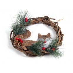 """Украшение венок """"Merry Christmas"""" с лисой D23cm"""